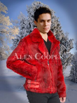 Men stylish real warm real rabbit fur winter jacket with lapel collar and hood