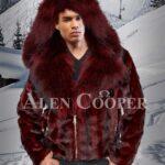 Men super soft and trendy real mink fur black-burgundy stripped winter jacket