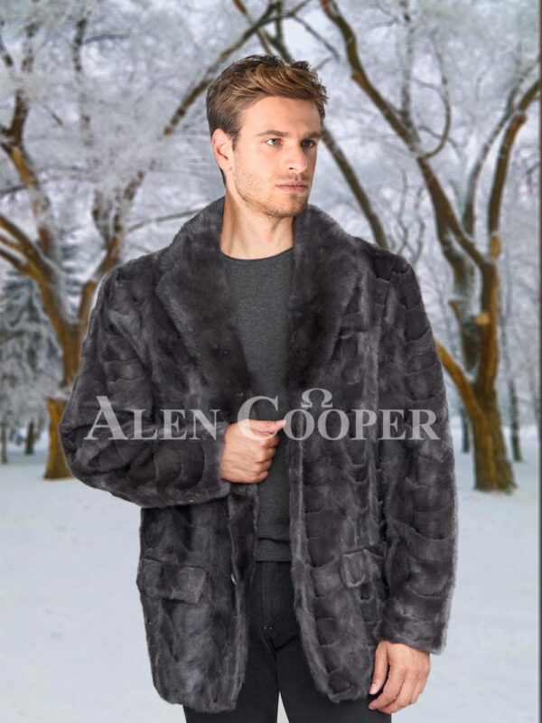 Men super stylish and classy real mink fur real warm blazer in grey
