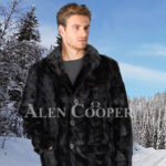 Men super stylish and real warm real mink fur section blazer in glossy black