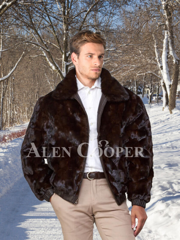 Men super stylish and warm real mink fur reversible to leather bomber jacket