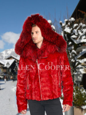 Men vibrant red super soft and incredible warm real mink fur jacket with fox fur trim collar