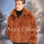 Mens Caramel brown real rabbit fur incredible warm winter bomber jacket