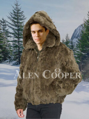 Mens Olive Real Rabbit Fur True Warm Hooded Winter Outerwear new views