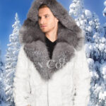 Mens amazing snow white mink fur warm winter jacket with silver fox fur trim collar