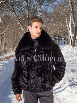 Mens black real mink fur warm winter bomber jacket with protective collar