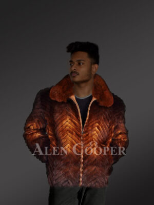 Mens casual whisky ombre stylish warm winter real mink fur bomber jacket new sde view