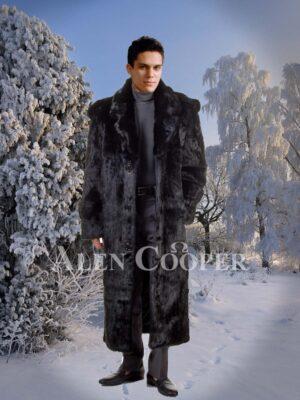 Mens classy full length real rabbit fur wide collar overcoat in black