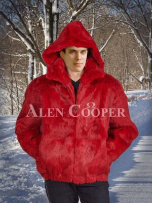 Mens coral red real rabbit fur mid-length winter outerwear with protective hood