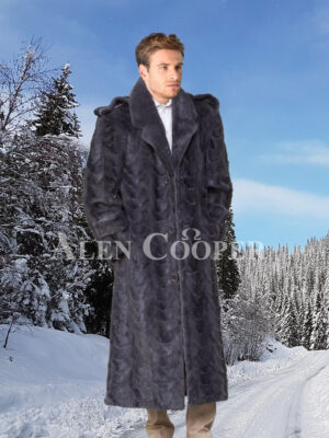 Mens glossy mink fur full length iconic incredible warm winter overcoat
