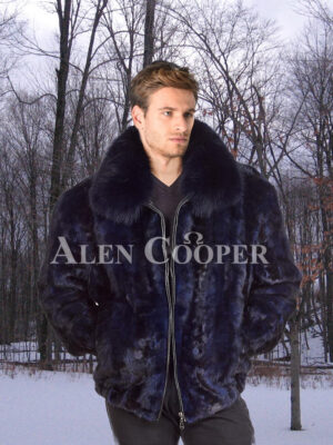 Mens glossy navy real mink fur incredible warm bomber jacket