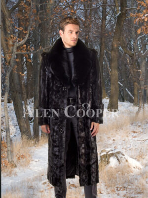 Mens iconic black real mink fur full length overcoat with fur trim collar