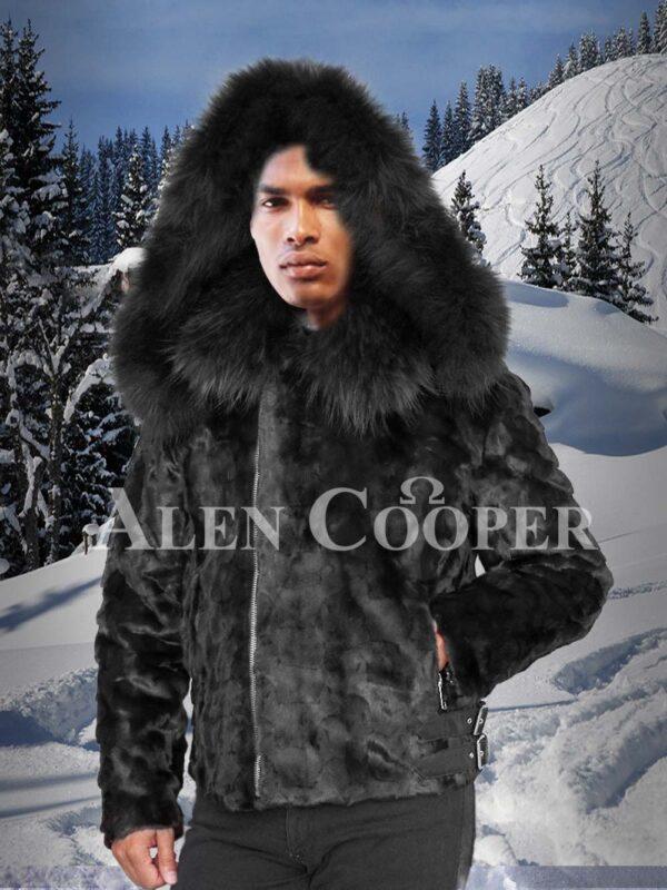Mens iconic coal-black full sleeve mink fur winter jacket with fox fur collar and hood