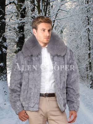 Mens iconic grey real mink fur front zipper classic bomber jacket