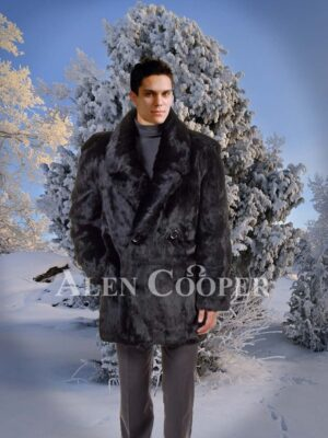 Mens iconic real mink fur mid-length warm winter coat in black