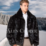 Mens iconic super warm reversible mink fur bomber jacket in glossy black