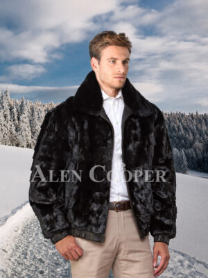 Mens iconic super warm reversible mink fur bomber jacket in glossy black