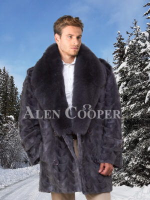 Mens mid-length shawl collar real mink fur incredible warm pea coat in grey