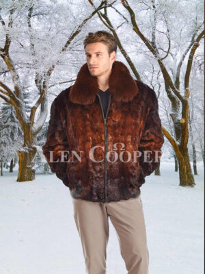 Mens stylish incredible warm real mink fur bomber jacket in whisky ombre