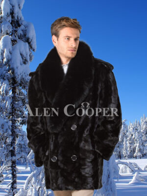 Mens super soft and classy real black real warm real mink fur mid-length winter coat