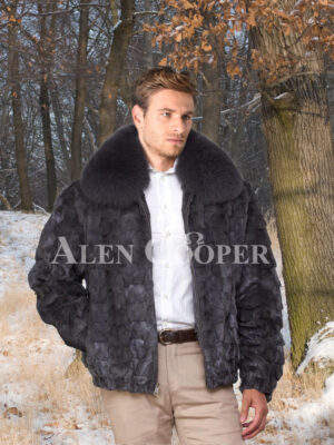 Mens super soft and classy real mink fur bomber jacket with protective collar
