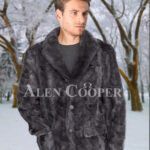 Mens super stylish and classy real mink fur real warm blazer in grey