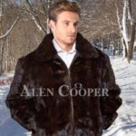 Mens super stylish and warm real mink fur reversible to leather bomber jacket