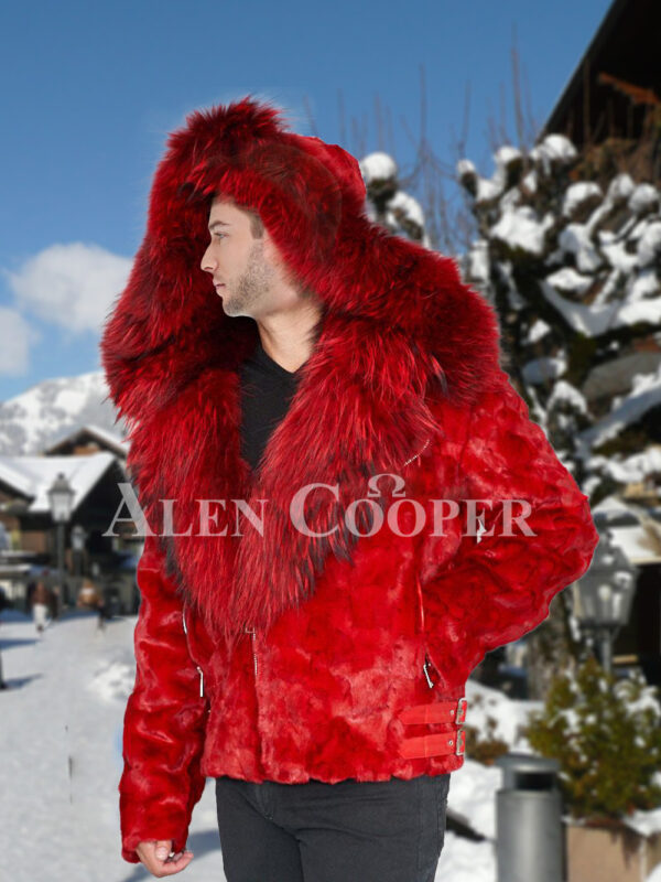Mens vibrant red super soft and incredible warm real mink fur jacket with fox fur trim collar
