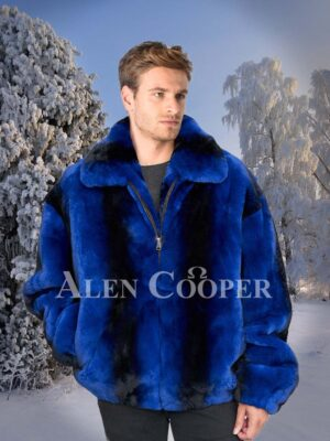 Navy and black striped real rabbit fur mid-length bomber jacket for men