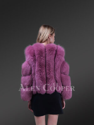New Light purple cold shoulder sleeve real fox fur winter coat for women back side view