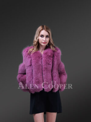 New Light purple cold shoulder sleeve real fox fur winter coat for womens