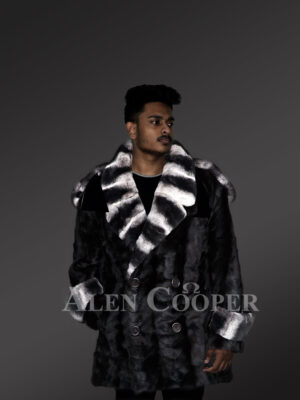 Shawl collar styled real mink fur mid-length warm winter coat for men new