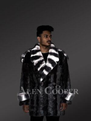 Shawl collar styled real mink fur mid-length warm winter coat for men new views