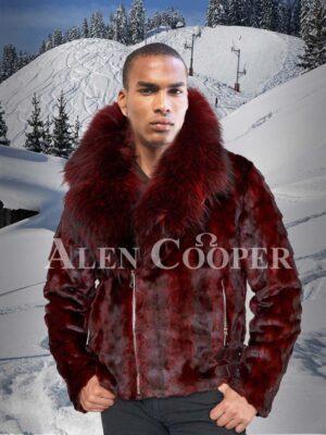 Super soft and trendy real mink fur black-burgundy stripped winter jacket Men's