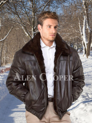 Super stylish and warm real mink fur reversible to leather bomber jacket for Men's