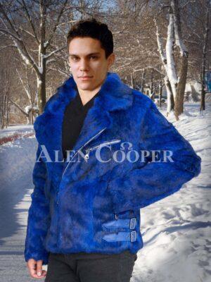 amazing full sleeve lapel collar styled real rabbit fur winter outerwear Men's