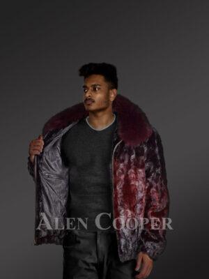 glossy burgundy true warm real mink fur classic bomber jacket new views