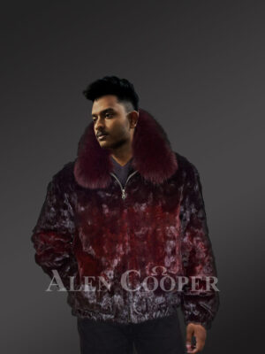 glossy burgundy true warm real mink fur classic bomber jacket newview