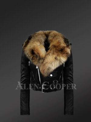 Iconic black super stylish real leather asymmetrical zipper closure biker jacket for women with raccoon fur collar new