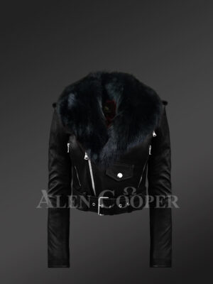 Super stylish and trendy real leather black biker jacket with pure black fox fur collar New