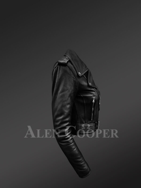 Super stylish and trendy real leather black biker jacket with pure black fox fur collar New side view