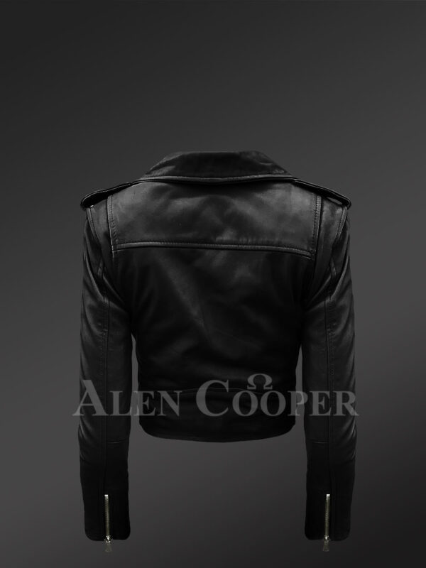Women's short length real leather black biker jacket with asymmetrical zipper closure new Back side view