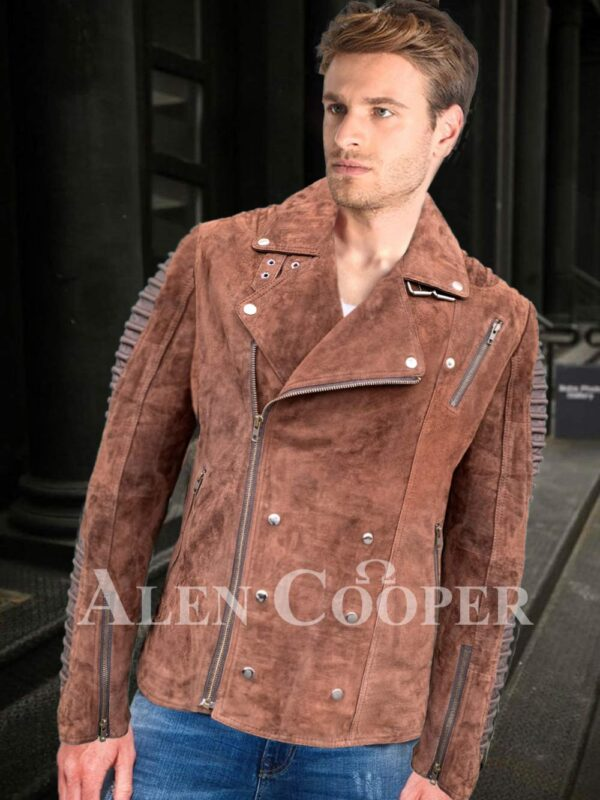 Iconic faded brown asymmetrical zipper closure quilted real leather jacket for men