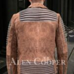 Iconic faded brown asymmetrical zipper closure quilted real leather jacket for men back side view