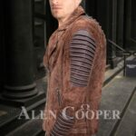 Iconic faded brown asymmetrical zipper closure quilted real leather jacket for men side view