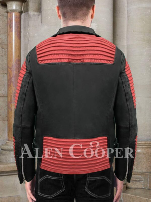 Men's stunning black real leather jacket with sturdy red quilts and metals Back side view