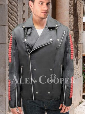 Men's stunning black real leather jacket with sturdy red quilts and metals new