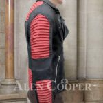 Men's stunning black real leather jacket with sturdy red quilts and metals side view
