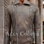 Stylish lapel collar real leather jacket with quilted sleeves and asymmetrical front closure for men