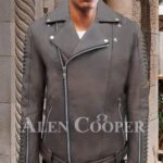 Stylish lapel collar real leather jacket with quilted sleeves and asymmetrical front closure new
